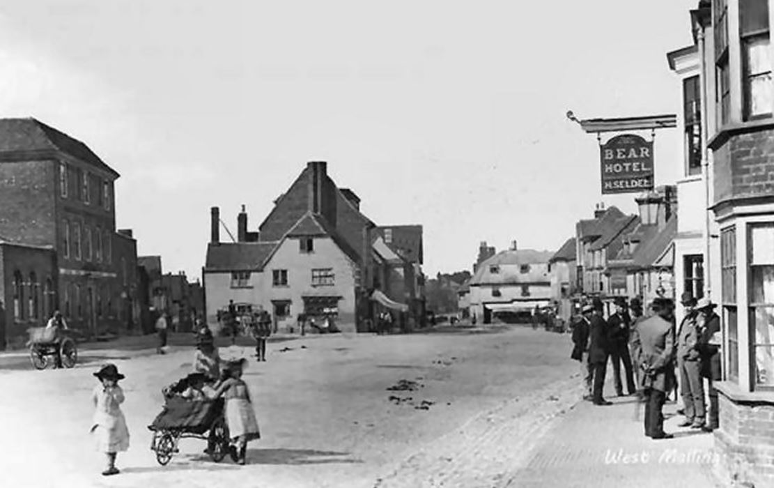 Old black and white photograph of West Malling