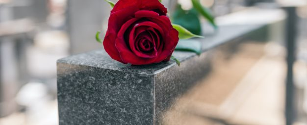 Single red rose resting on a grey marble gravestone