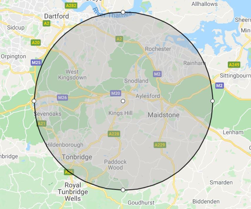 10-mile radius around Viner & Sons premises in West Malling