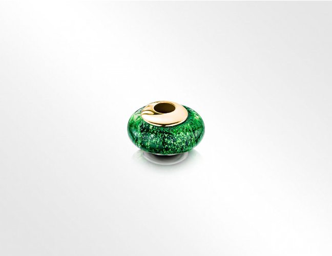 Rounded deep emerald green and gold bead