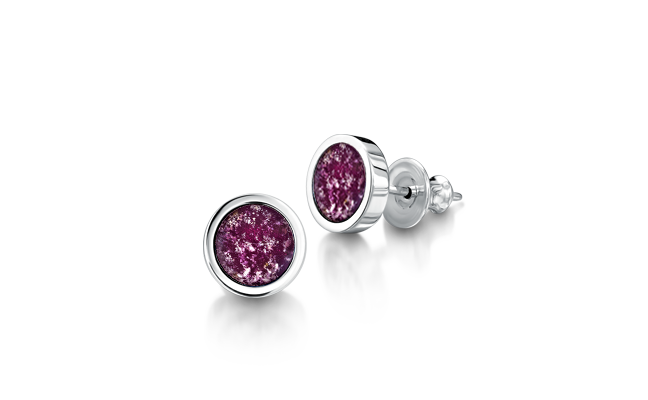 Silver earrings with purple gems