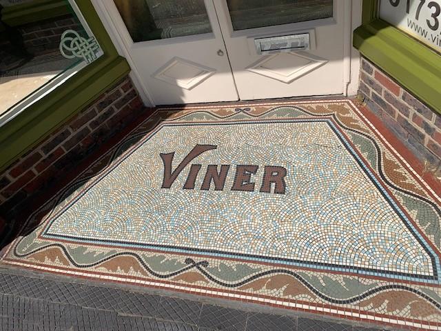 Colourful mosaic of Viner for the Viner & Sons entrance